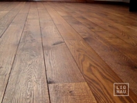 Solid Oak flooring, 20x140 x 500-2400 mm, Rustic grade, oiled in colour Dark Walnut