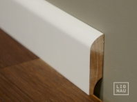 Solid wood skirtings, Baltic Birch, 15x50 x 2400 mm, profiel with radius, white painted
