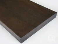Smoked Oak Hardwood stair treads, two-fold glued, continuous lamella, thickness 40 mm, Rustic grade, brushed, black oiled