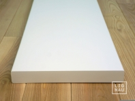 Solid Baltic Birch Hardwood stair treads, two-fold glued, thickness 40 mm, white painted RAL 9010