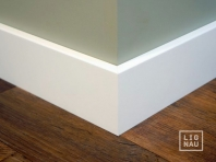 Solid wood skirtings, Baltic Birch, 15x90 x 2400 mm, with small radius, white painted