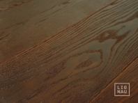 Smoked oak flooring, 20x120 x 500-2400 mm, Rustic grade, aged, sandblasted, oiled in colour Dark Walnut