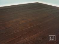 Smoked oak flooring, 20x140 x 500-2400 mm, Rustic grade, aged, sandblasted, oiled in colour Dark Walnut