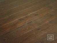 Smoked oak flooring, 20x180 x 500-2900 mm, Rustic grade, aged, sandblasted, oiled in colour Dark Walnut