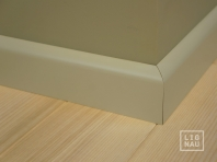 Solid wood skirtings, Baltic Birch, 15x50 x 2400 mm, profiel with radius, painted Pebble grey RAL 7032