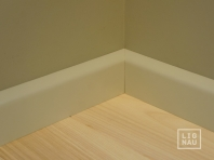 Solid wood skirtings, Baltic Birch, 15x70 x 2400 mm, profiel with radius, painted Pebble grey RAL 7032