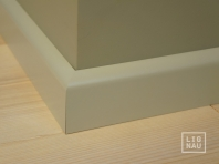 Solid wood skirtings, Baltic Birch, 15x90 x 2400 mm, profiel with radius, painted Pebble grey RAL 7032