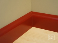 Solid wood skirtings, Baltic Birch, 15x50 x 2400 mm, profiel with radius, painted Wine red RAL 3005