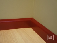 Solid wood skirtings, Baltic Birch, 15x70 x 2400 mm, profiel with radius, painted Wine red RAL 3005