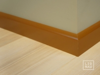 Solid wood skirtings, Baltic Birch, 15x50 x 2400 mm, profiel with radius, painted Olive brown RAL 8008