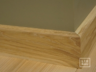 Solid Oak skirting, 15x70 x1400-2700 mm, with small radius, Prime-Nature grade, white oiled