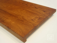 Solid Oak window sill, 20 mm, with overhang, continuous lamella, Rustic grade, oiled in colour Dark Walnut
