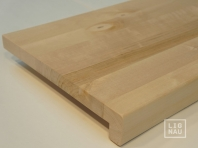 Solid Baltic Birch Hardwood window sill, 20 mm, with overhang, continuous lamella, Rustic grade, unfinished