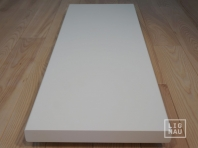 Solid Ash Hardwood stair treads, two-fold glued, continuous lamella, thickness 40 mm, white painted RAL 9010