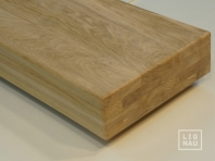 Solid Oak Hardwood stair treads, four-fold glued, continuous lamella, thickness 80 mm, Nature grade, unfinished