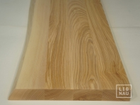 Ash Hardwood stair treads with untrimmed front edge, continuous lamella, thickness 40 mm, Nature grade, white oiled