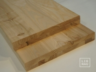 Solid Ash Hardwood stair treads, two-fold glued, continuous lamella, thickness 40 mm, Rustic grade, unfinished