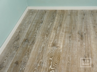 Smoked oak flooring, 2x pre-sanded, 20x120 x 500-2400 mm, Rustic grade, aged, sandblasted, white oiled