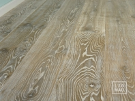 Smoked oak flooring, 2x pre-sanded, 20x140 x 500-2400 mm, Rustic grade, aged, sandblasted, white oiled