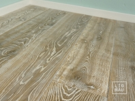 Smoked oak flooring, 2x pre-sanded, 20x160 x 500-2900 mm, Rustic grade, aged, sandblasted, white oiled