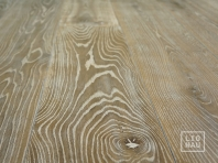 Smoked oak flooring, 2x pre-sanded, 20x180 x 500-2900 mm, Rustic grade, aged, sandblasted, white oiled