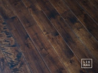 Solid Baltic Birch flooring, 20x120 x 500-2100 mm, Rustic grade, unfilled, oiled in colour Walnut