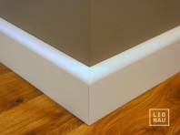 Solid wood skirtings, Baltic Birch, 20x90 mm, profile with radius, white painted