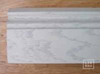 Solid wood skirting, Ash, historical profile of Hamburg, 20x130 mm, Nature-Rustic grade, white painted