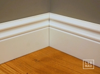 Solid wood skirtings, Baltic Birch, historical profile of Hamburg, 20x90 mm, white painted
